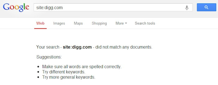 Pourquoi Digg a t-il été retiré des résultats de recherche de Google puis réintégré ? - Tout le site de Digg était désindexé sur Google hier soir