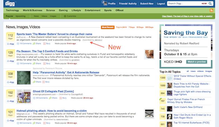 Pourquoi Digg a t-il été retiré des résultats de recherche de Google puis réintégré ? - Ancienne version de Digg