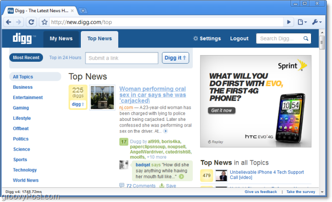 Pourquoi Digg a t-il été retiré des résultats de recherche de Google puis réintégré ? - Nouvelle version de Digg