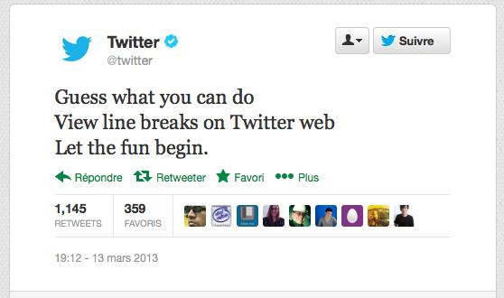 Twitter ajoute enfin le support pour les sauts de ligne sur le Web ! - Possibilité de désormais faire des tweets en revenant à la ligne