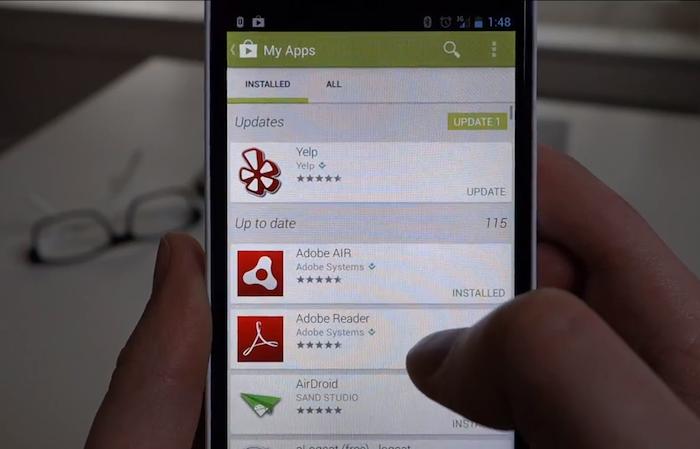 Un premier aperçu du Google Play v 4.0 est dévoilé en vidéo - La liste des application du Play Store 4.0 est beaucoup plus claire