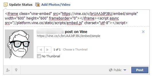Impossible de lire une vidéo Vine au sein de Facebook