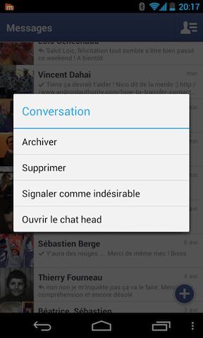 Ouverture du chat heads depuis Messenger