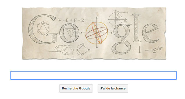 Leonhard Euler honoré par un doodle Google