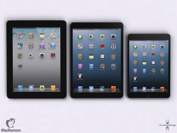 Maquettes de l'iPad actuel, de l'iPad 5 et de l'iPad Mini
