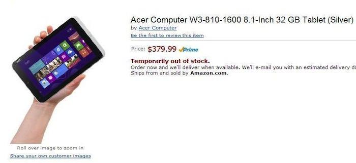 Amazon dévoile accidentellement une tablette Acer de 8 pouces avec Windows 8