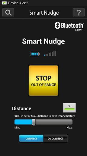 Alerte si l'objet est trop éloigné du smartphone