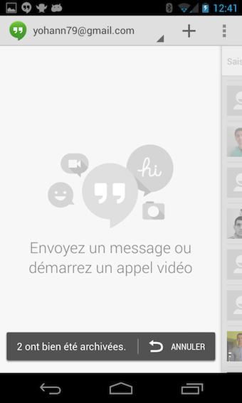 L'application Hangouts est le système de messagerie unifiée de Google