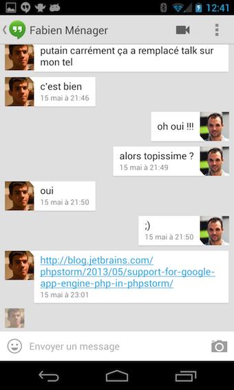 La partie texte de l'app Hangouts laisse un peu à désirer