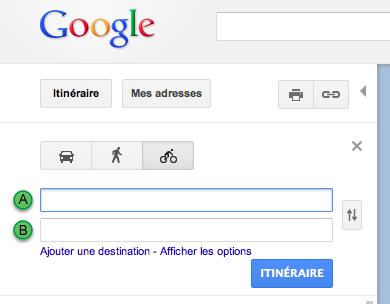 Il suffit de sélectionner l'option 'Cycliste' dans Google Maps