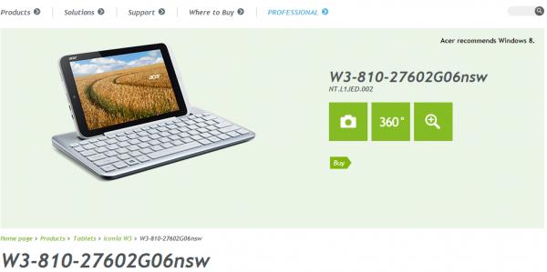 La tablette W3-810 sous Windows 8 montre son écran de 8 pouces, cette fois sur le propre site Web de Acer