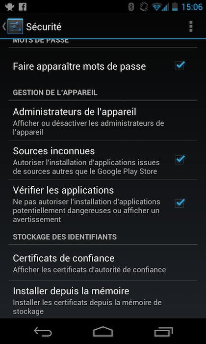 Autorisation des 'Sources inconnues' depuis Android