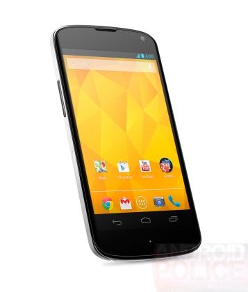 Vue du Nexus 4 blanc face avant