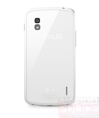 Vue du Nexus 4 blanc face arrière