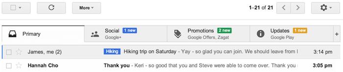 Gmail classera les e-mails en cinq onglets différents : primaire, sociaux, promotions, mises à jour et forums