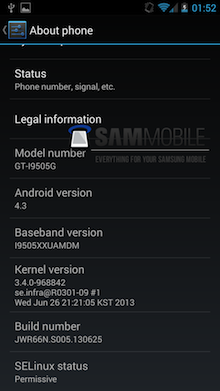Paramètres de Android 4.3