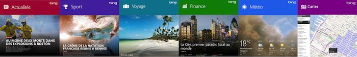 La technologie Bing est également utilisée dans les Bing Apps