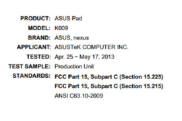 La Nexus 7 II porte le numéro de modèle K009