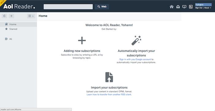 AOL Reader vous invite à ajouter de nouveaux abonnements