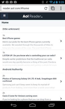 AOL Reader sur mobile