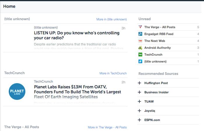 Vue centrale de AOL Reader