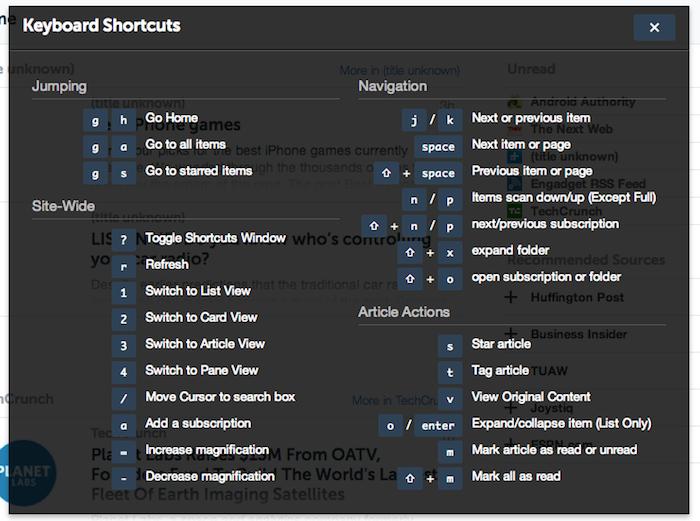 Des dizaines de raccourcis clavier sont disponibles dans AOL Reader