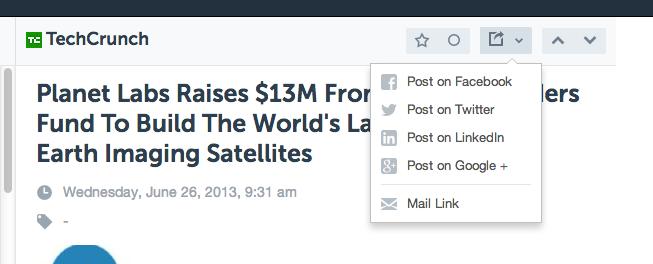 AOL reader incluent le partage sur les réseaux sociaux