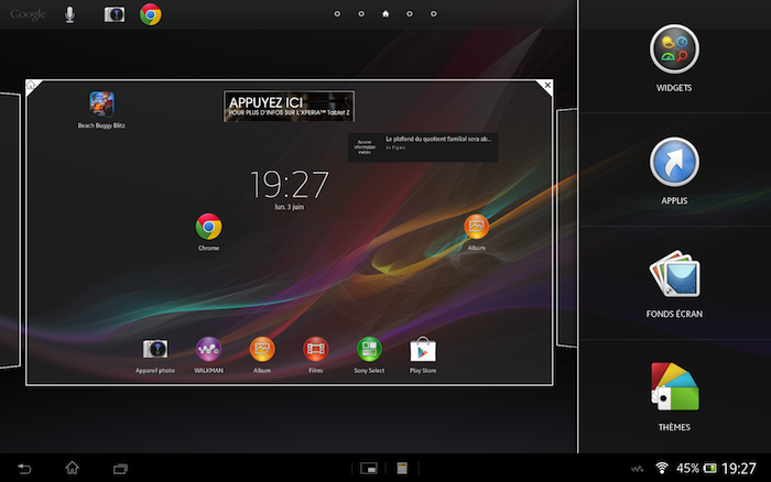 La Tablet Z arrive avec Android 4.1 Jelly Bean et la surcouche Sony