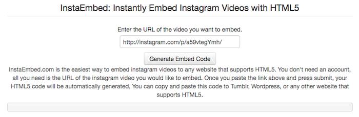 Cliquez sur le bouton 'Generate Embed Code' pour générer le code HTML5