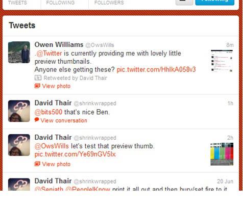 Twitter test l'intégration des vignettes au sein des tweets
