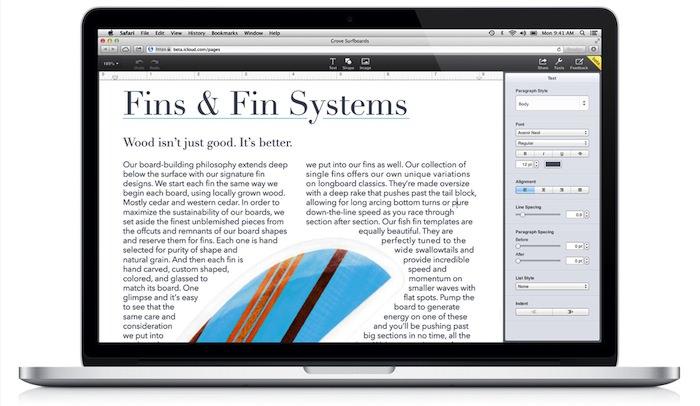Pages permet de créer des documents directement depuis un navigateur Web