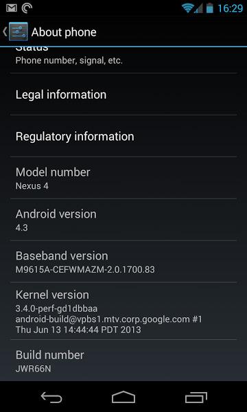 Android 4.3 Jelly Bean bientôt sur le Nexus 4 ?