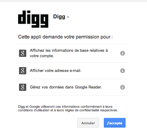 Autorisation nécessaire pour Digg Reader