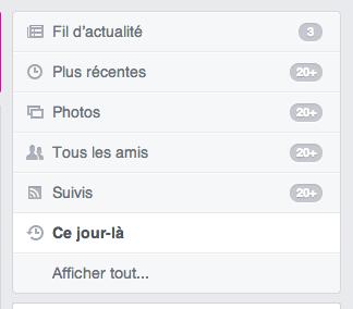 Nouvelle entrée 'Ce jour-là' fait son apparition dans le menu de Facebook