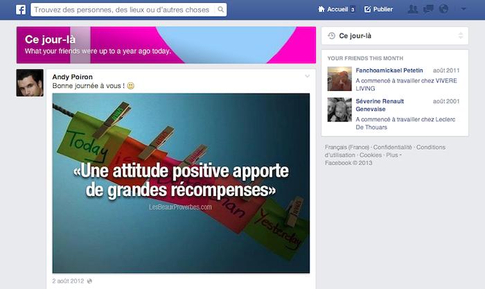 Facebook teste une fonctionnalité semblable à Timehop pour vous rappeler l'année passée