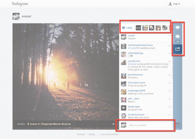 Version Web d'Instagram avant