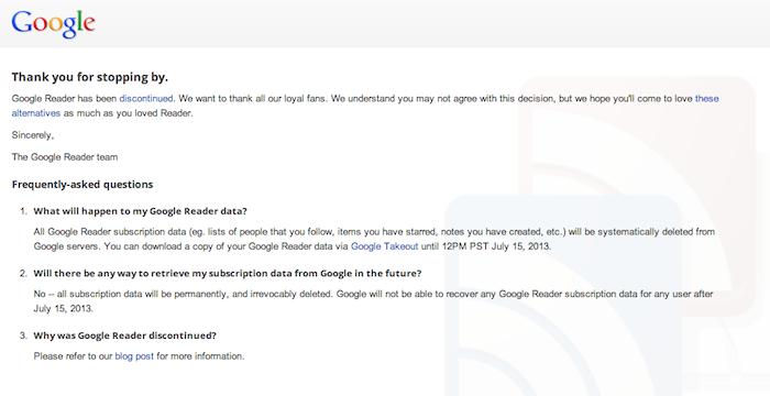 Les lumières s'éteignent sur Google Reader