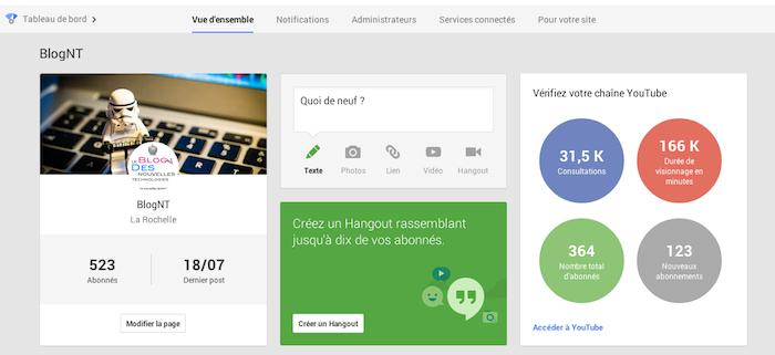 Google+ et notamment le tableau de bord des pages devient de plus en plus central