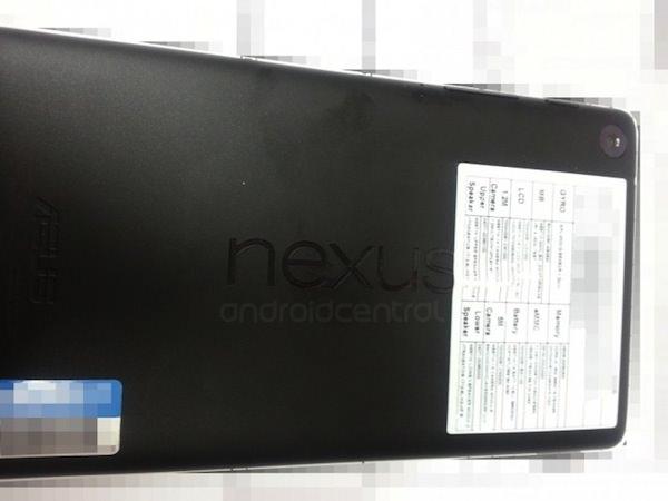 Vue de derrière de la nouvelle Nexus 7