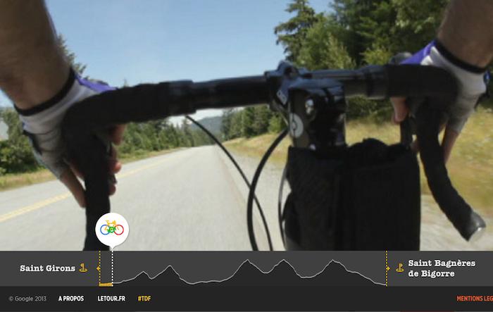 Il est possible d'avoir une vue cycliste pour ressentir les sensations de la route