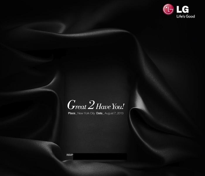 LG mentionne dévoiler le LG G2 disposant d'un Snapdragon 800 le 7 août à New York
