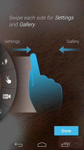 En balayant à droite ou à gauche vous accédez à la galerie ou aux options