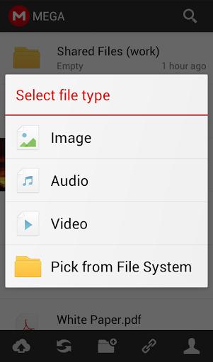 Sélection du type de fichier