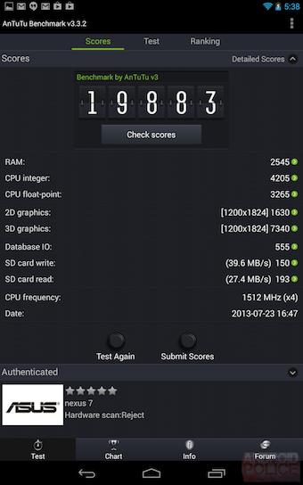 La Nexus 7 est bien classé sur AnTuTu