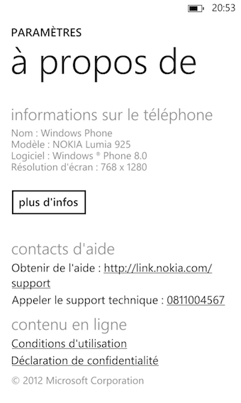 Windows Phone 8 arrive bien évidemment sur le Lumia 925