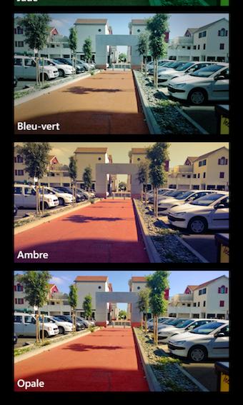 Il est possible d'appliquer des filtres sur les photos