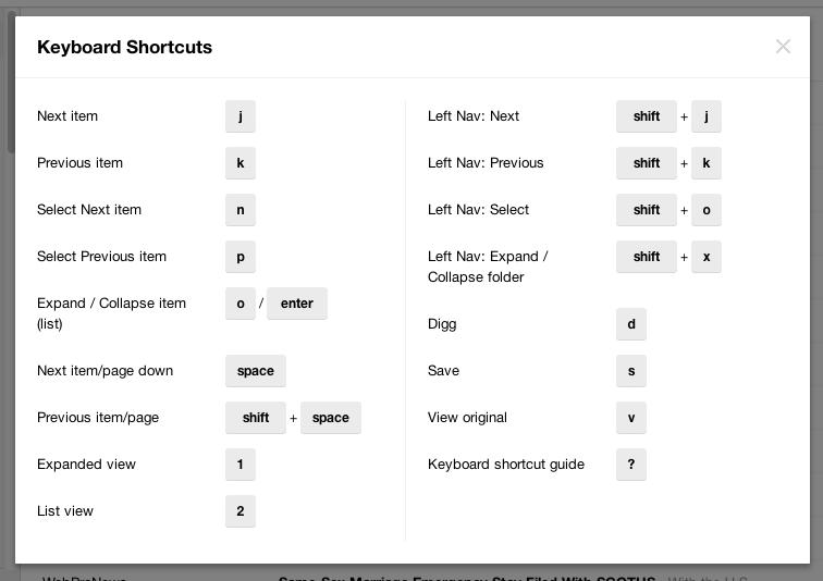 Raccourcis clavier de Digg Reader