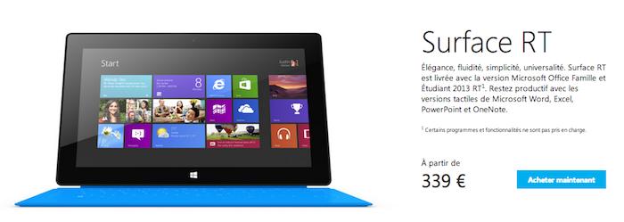 Troisième démarque ! Microsoft casse les prix de sa tablette Surface RT jusqu'à 30%