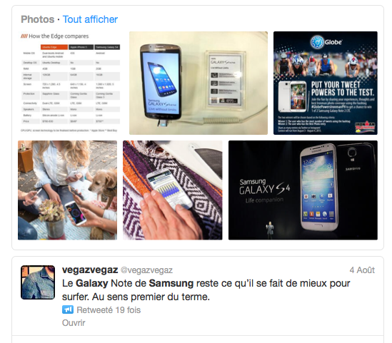 Le top tweets reprend en dessous