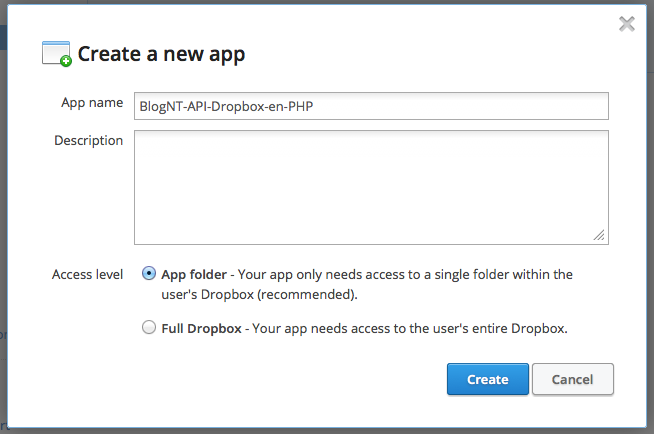 Création de l'application Dropbox